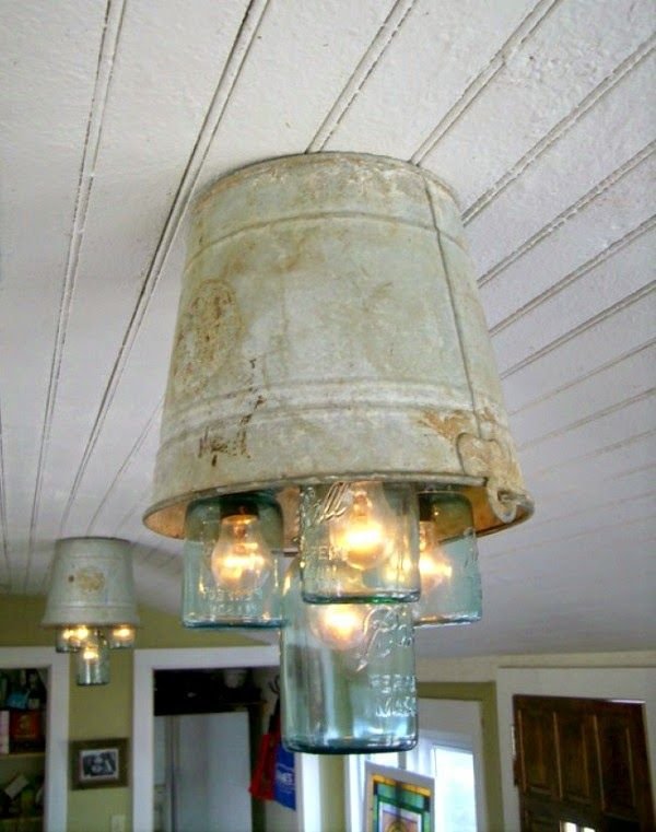 diy rustic chandeliers. Tin bucket chandeliers using mason jars  Idea budded from eating at Bandana s BBQ picked up buckets and garage sales Bulbs electrical lines 491 best Lamps Lights Candles images on Pinterest Chandeliers