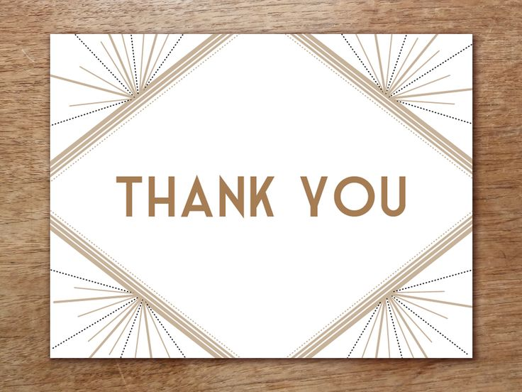A beautiful Art-Deco style thank you card template that your guests will be delighted to receive. It's easy to make. Just plop in your text, print, cut and fold. You can make as many as you want, whenever you like.
