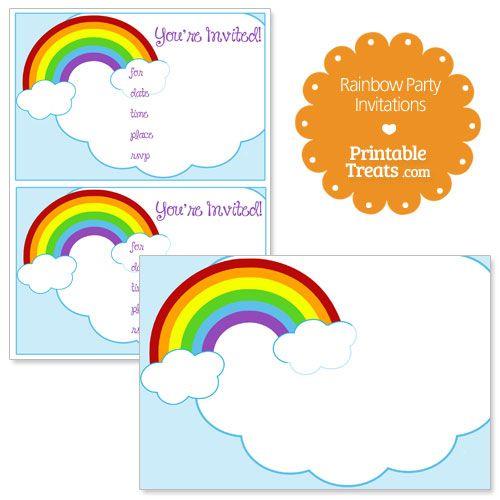 Printable Rainbow Party Invitations from PrintableTreats.com