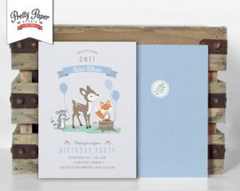 Woodland Camping Birthday Party Invitation by ThePrettyPaperStudio