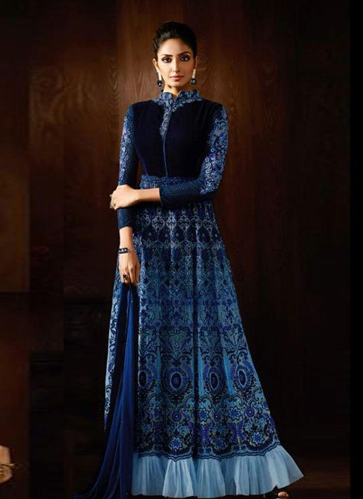 Buy Engrossing Blue Embroidered Designer Anarkali Suit.Buy latest designer anarkali online. Customization and free shipping worldwide. .