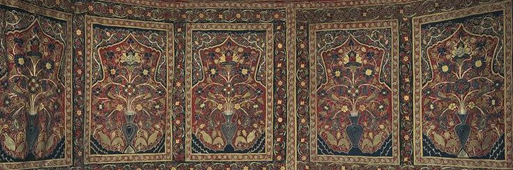 Royal Round Tent Made for Muhammad Shah (ruled 1834–48). Iran, Rasht, Qajar period (1779–1925). Interior: Plain weave: inlaid work, wool; embroidery: chain stitch, silk; tape, leather, rope. Exterior: Plain weave: cotton; iron ring, rope; h: 360 cm, diam: 400 cm. Purchase from the J. H. Wade Fund 2014.388.
