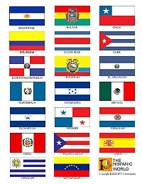 Click on the image to enlarge. Make sure to print out a copy of our list of Hispanic countries and flags for your class!