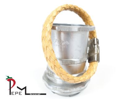 An beige leather bracelet with a diameter of 21 cm or 8.2 inches. The closure is made of magnetic metal with a vintage coating.