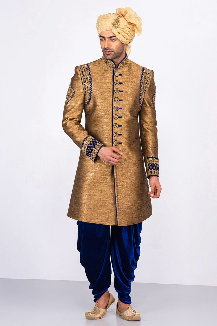 MFS antique gold embroidered sherwani with blue dhoti