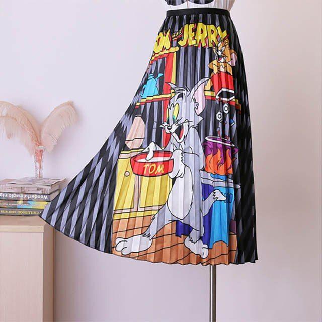 Tienda Online Bgsolid Alta Cintura Una Palabra Falda Cintura Elastica Dibujos Animados Impresion Falda Plisada Al Por Mayor Faldas Plisadas Faldas Ropa De Moda