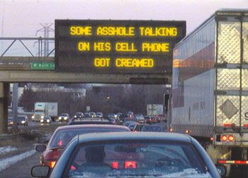 Traffic humor.
