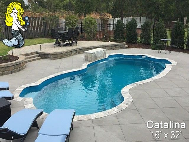 Catalina 16 X 32 Freeform Tallman Pools Fiberglass Pool Swimming Pool Featuring 3 B Pools Backyard Inground Fiberglass Swimming Pools Backyard Pool Designs
