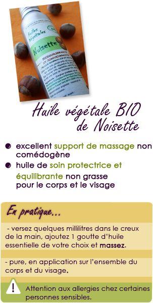Huile végétale de noisette : support de massage, protectrice et équilibrante.