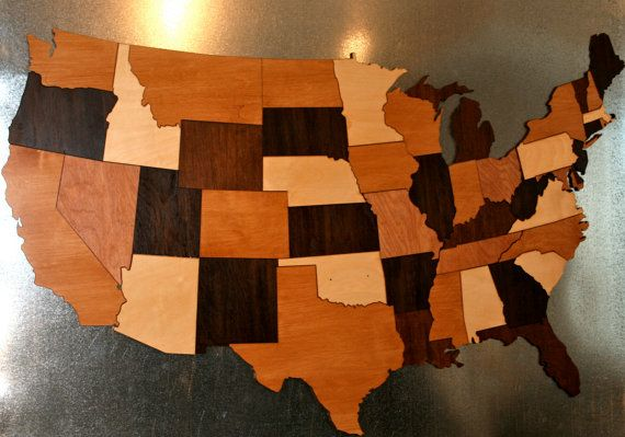 Usa Map Puzzle Wooden - Wood us map