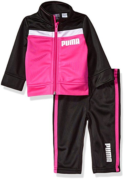 25a0ae470618d Amazon.com: PUMA Baby Girls Tricot Tracksuit Set, Black, 12M ...