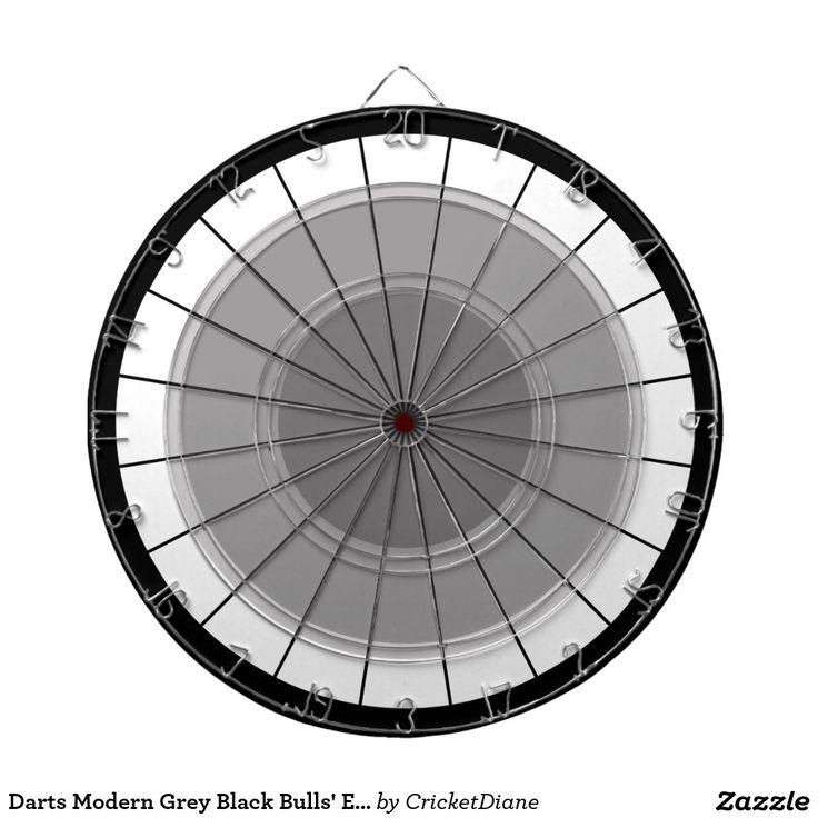 Darts Modern Grey Black Bulls' Eye Challenge Dartboard With Darts