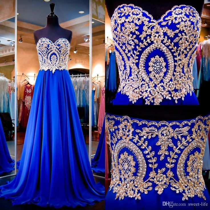 2016 Royal Blue Evening Dresses Real Images Sweetheart Neck Appliqued Beaded…