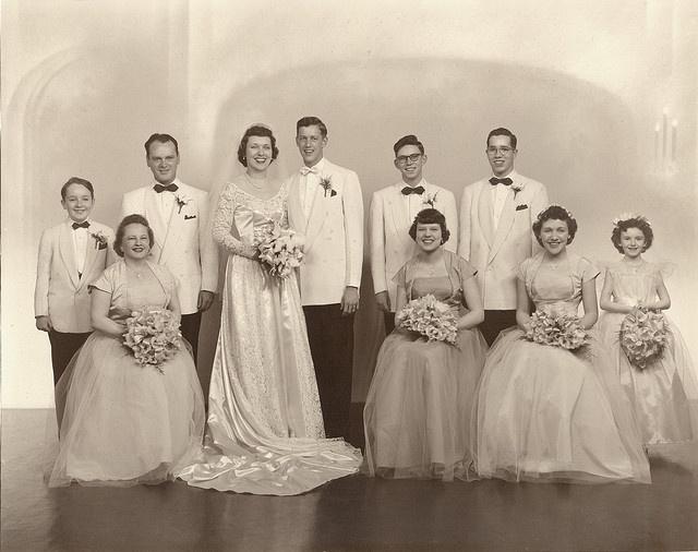 So much fantastic 1950s wedding day style. #vintage #wedding #bride #groom #dress #1950s