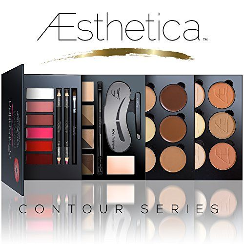 Aesthetica Cosmetics Contour Series - Contouring and Highlighting Library Set - Includes Aesthetica Cream, Powder, Brow