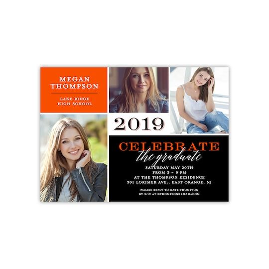 "Gartner Studios® Personalized Fine Details Flat Graduation Invite in Orange | 5"" x 7"" 