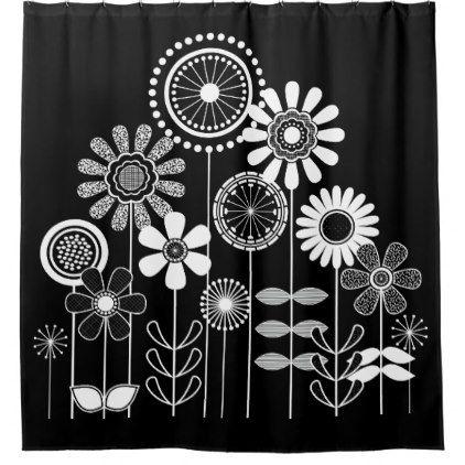Black And White Mid Century Modern Flower Print Shower Curtain
