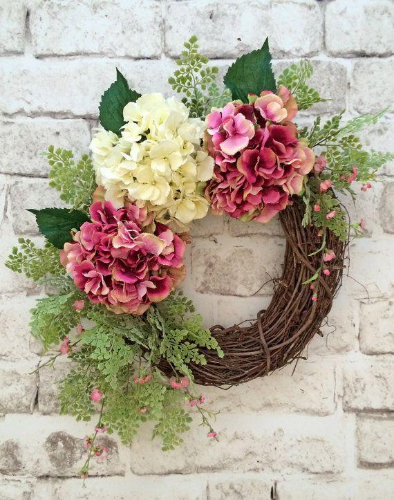 Spring Hydrangea Wreath, Spring Wreath, Summer Wreath for Door, Front Door Wreath, Silk Floral Wreath, Grapevine Wreath,Outdoor Wreath,Decor