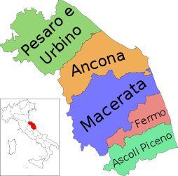 Mappa della regione Marche con le sue province
