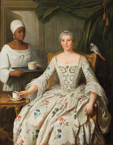 Portrait de Marguerite Deurbroucq, née Sengstack, avec une esclave noire, 1753. Pierre-Bernard Morlot (1760-1780)