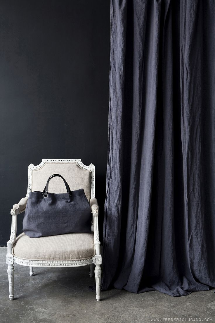 black washed linen curtain