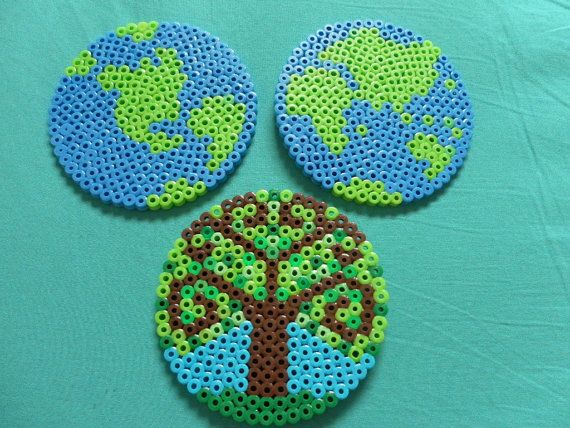 earth day perler bead coasters going green ~ my grandkids love perler beads, and so do I :)