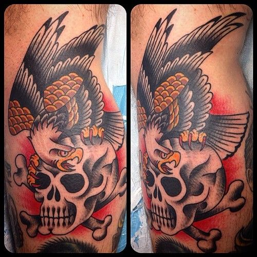127 best images about tattoos on pinterest for Skull and eagle tattoo