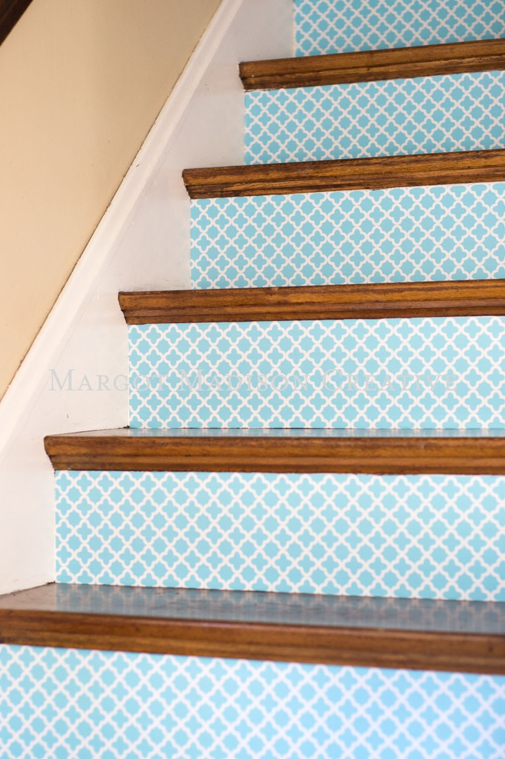 """MargotMadison: How to """"wallpaper"""" your stairs in an hour and with only a pair of scissors."""