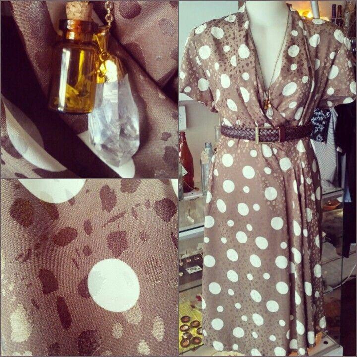#vintage #bigandsmall #polkadot #dress $49, @thebunnyshoppe #cork #bottle #necklace $28, #clear #crystal #quartz #necklace on #gold #plated #chain $49