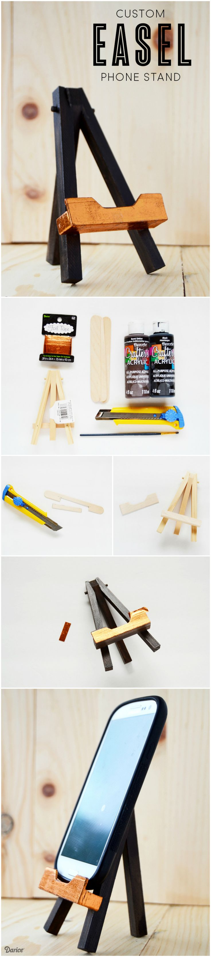 This DIY phone stand easel is a completely customized and artsy stand for your phone. It is made to hold your phone while it's still in it's case.