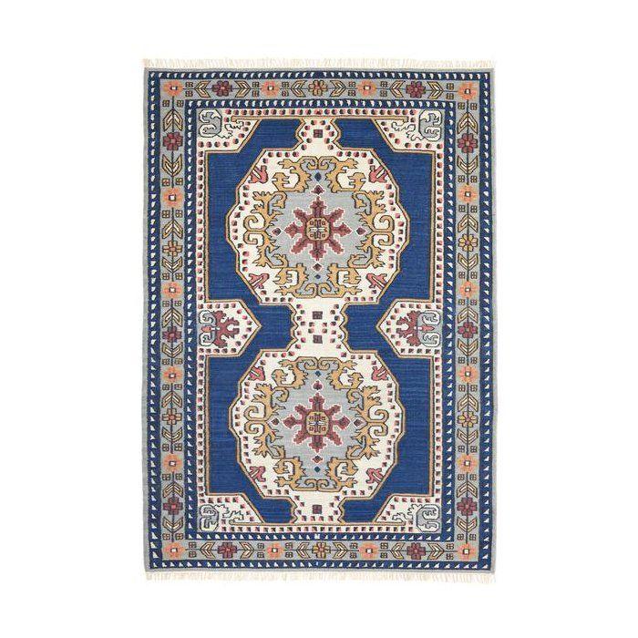 Soleil Oriental Handwoven Flatweave Navy Blue Cream Area Rug Area Rugs Rugs Persian Pattern