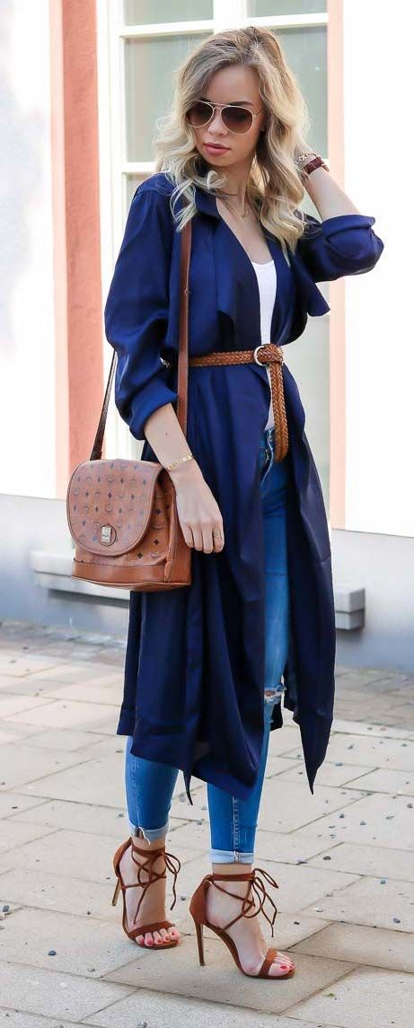 Outfit w/ kimono trench coat, perfect style for spring into summer season, outfit of the day, look, Summer outfit, Spring outfit, MCM Bag, Lace up Heels,   Zara Jeans
