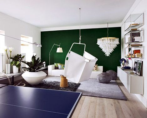 Emerald Green Accent Wall Royal Blue Ping Pong Table