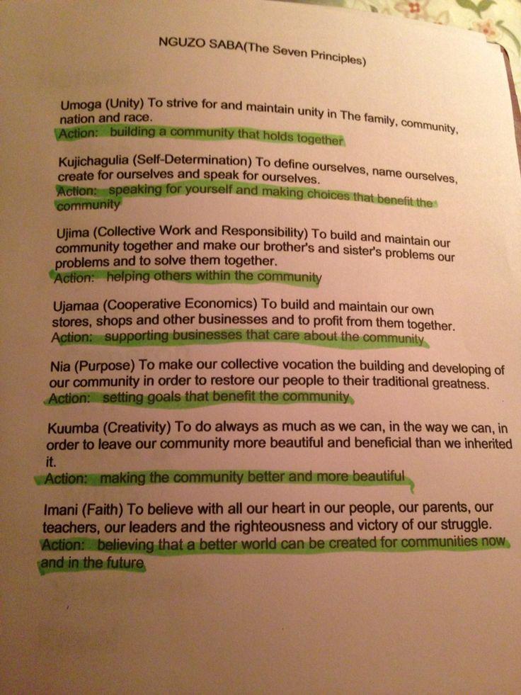 The seven principles of Kwanzaa nguzo saba