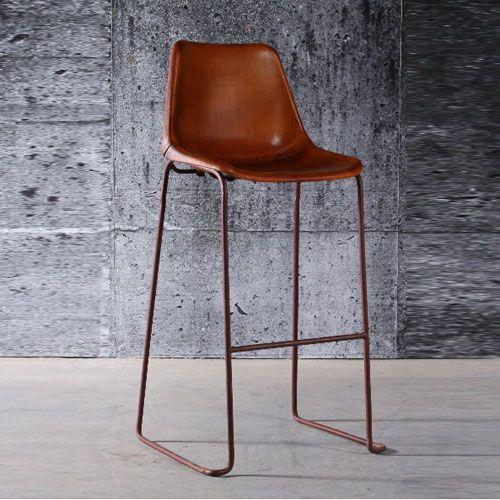 tabouret de bar en acier oxyd et cuir marron antique set de 2 chaises bar pinterest. Black Bedroom Furniture Sets. Home Design Ideas
