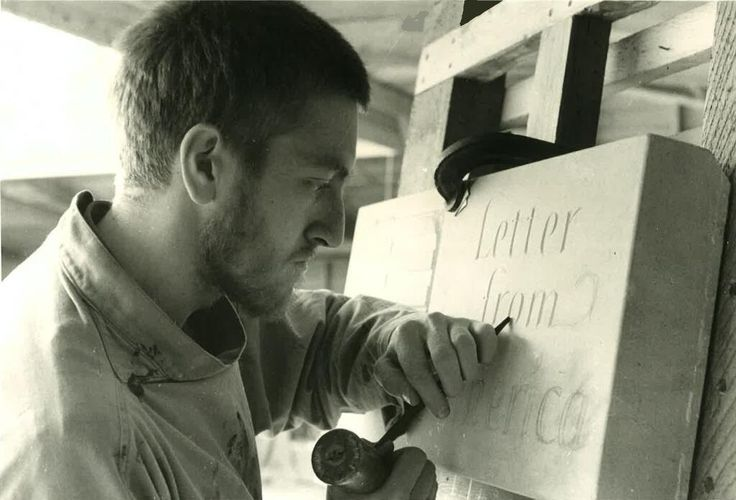 Alec Peever demonstrating lettercutting in 1980