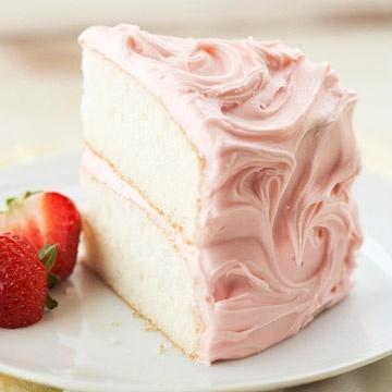 "Champagne Cake with Fresh Strawberries... and the strawberries are the only ""fresh"" thing with this recipe. Make this champagne cake: http://allrecipes.com/recipe/champagne-cake-i/ and this frosting: http://www.bhg.com/recipe/chocolate-cakes/champagne-cake-with-fresh-strawberries/"