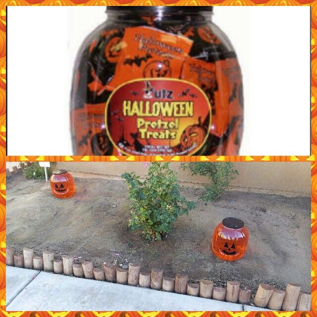 Fill pretzel container with water and food coloring, paint on a face and BAM! Pumpkins! Drop in a glow stick for light ;) -Cydni