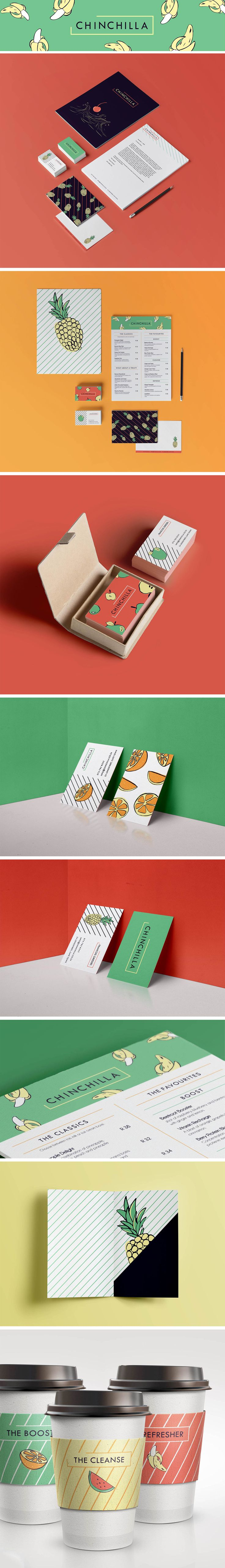 #Corporate #Identity I designed for a #student #project #branding #business #cards #design #colours #Patterns #Pineapple #fruit #fun #fresh #Chinchilla #Smoothie #bar