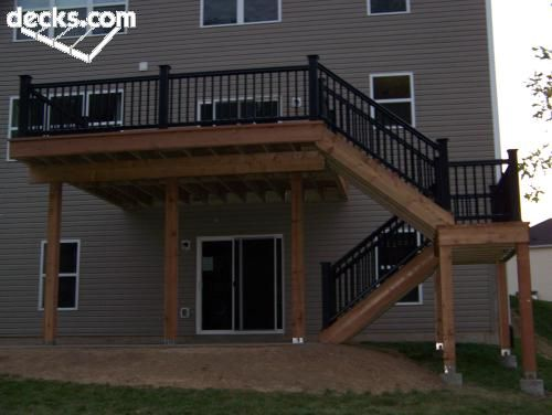 High elevated deck plan landscaping and gardening for Free standing elevated deck plans