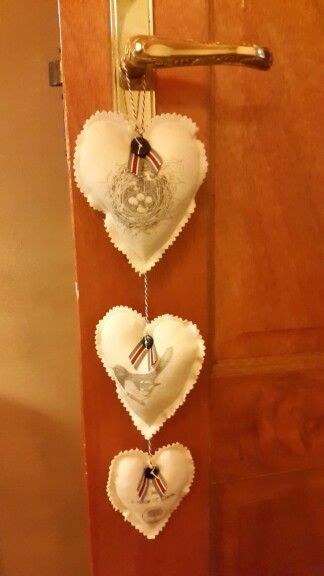 Fabric transfer hearts by Deirdre P