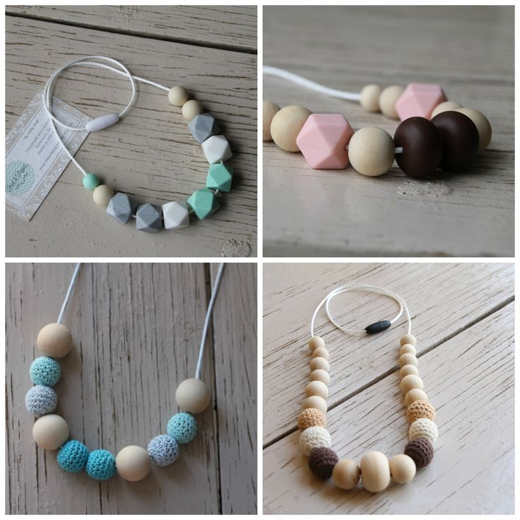 Handmade crochet and wood bead necklaces and silicone teething necklaces available now. Great for mums of all ages, lovely gifts for baby showers, Mother's Day, birthdays and Christmas gifts.
