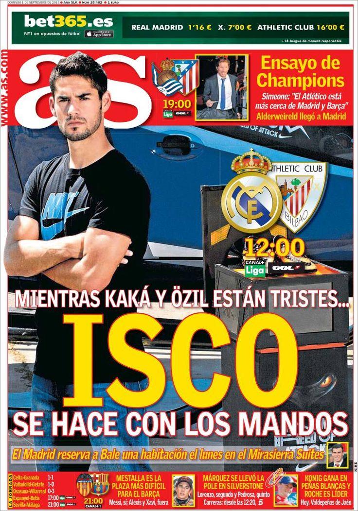 Los Titulares y Portadas de Noticias Destacadas Españolas del 1 de Septiembre de 2013 del Diario Deportivo AS ¿Que le pareció esta Portada de este Diario Español?