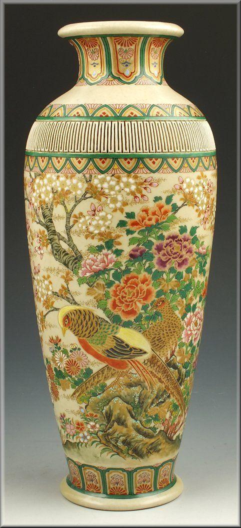 Japanese Meiji Period Satsuma Vase Japanese Vase Pinterest Pottery Porcelain And Vase