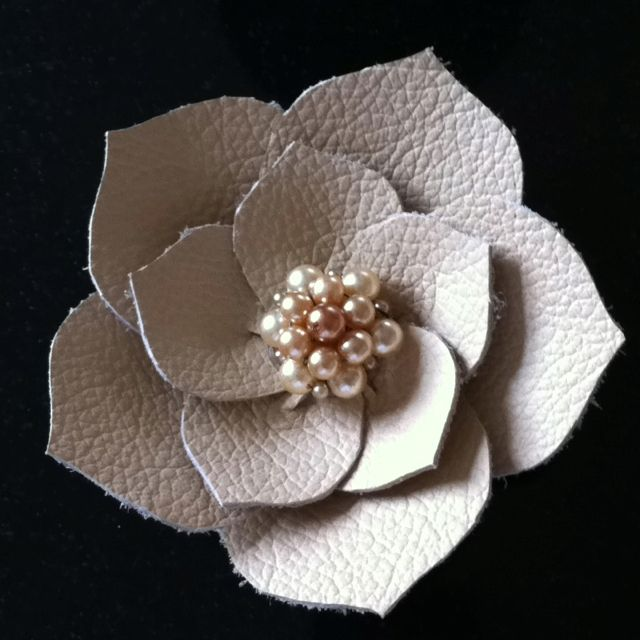 Leather flower corsage  @Eileen Lin