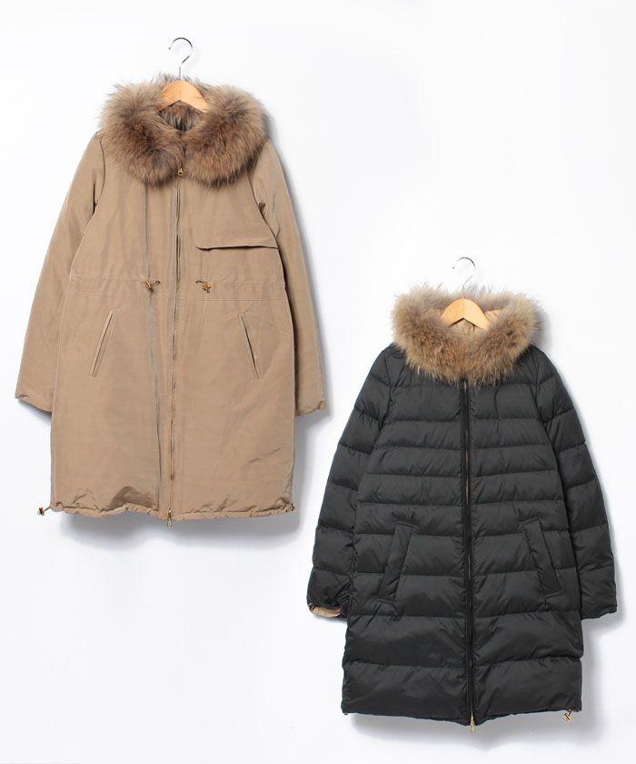 ノーカラーが女性らしいリバーシブルダウンコートです。表面は上品なグログランタイプ、裏面はカジュアル・・・
