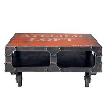 Rode houten salontafel op wieltjes B 90 cm - Terminus