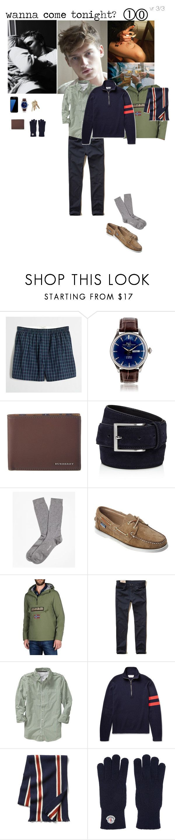 """wanna come tonight?"" by adelaidesmitha ❤ liked on Polyvore featuring J.Crew, Samsung, Burberry, To Boot New York, Brooks Brothers, Sebago, Napapijri, Hollister Co., Old Navy and Michael Bastian"