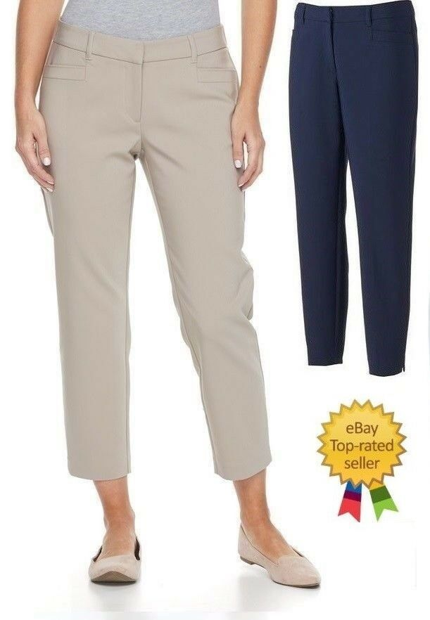 Dana Buchman Womens Ankle Pants Mid Rise Stretch Solid size 12 16 NEW