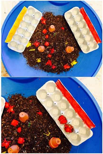 Materials: Dirt with bits of mulch, tiny pots, different colored bugs (that you can get on amazon) and the egg cardboards. I painted a line on each so older kids can identify bugs and match it with its color. For kids 5 years and older you can offer tongs.
